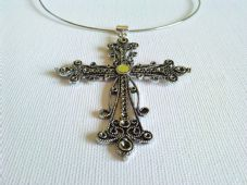 Extra large ornate cross necklace
